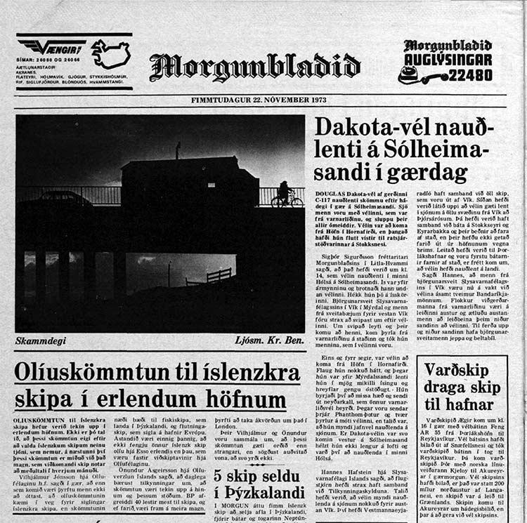 nieuwsartikel over het neerstoren van de Dakota